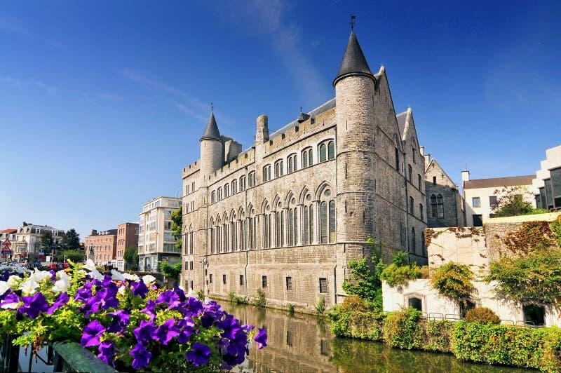 The Geeraard de Duivelsteen Geeraard the Devil Castle is a 13th century gothic architecture building in Ghent, Belgium. stock photo