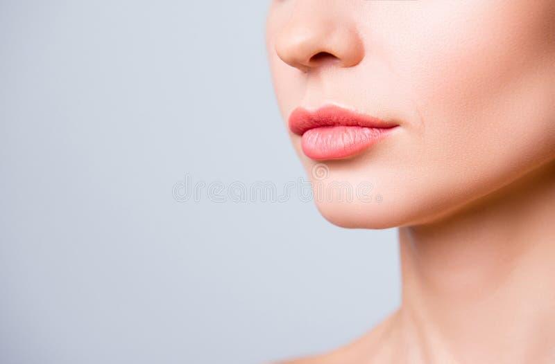 Geerntet nah herauf Foto von Schönheit ` s Lippen mit Form corr stockbild