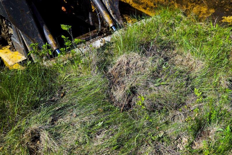 Geerntete Ansicht des Miniladers grabend in grasartiges Feld während der Aushubarbeiten stockfotos
