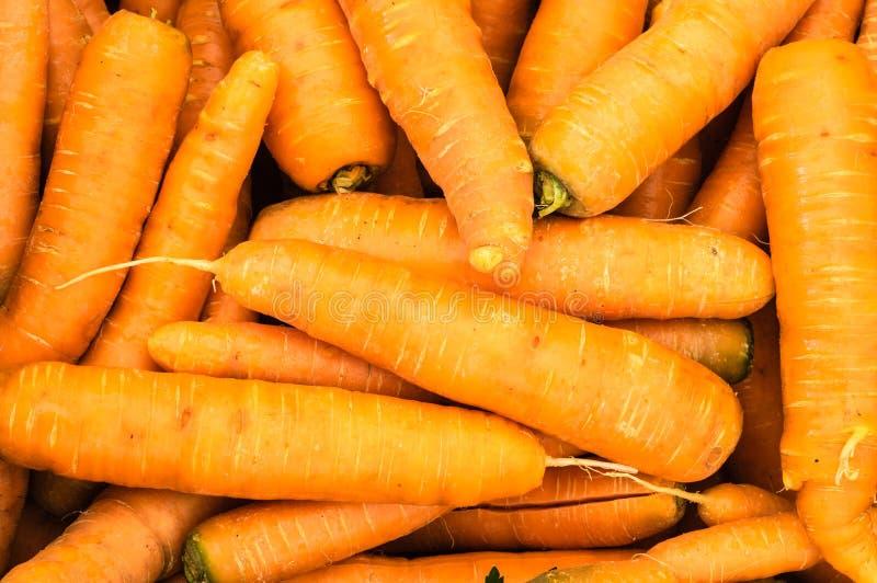 Geerntete orange Karotten auf Anzeige stockfotos
