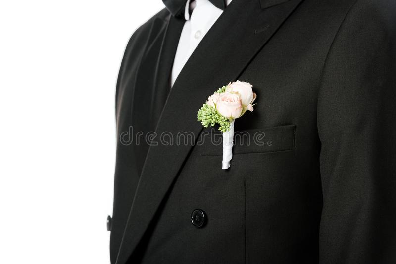 geernteter Schuss des Bräutigams in der stilvollen Klage mit schönem Boutonniere lizenzfreies stockbild