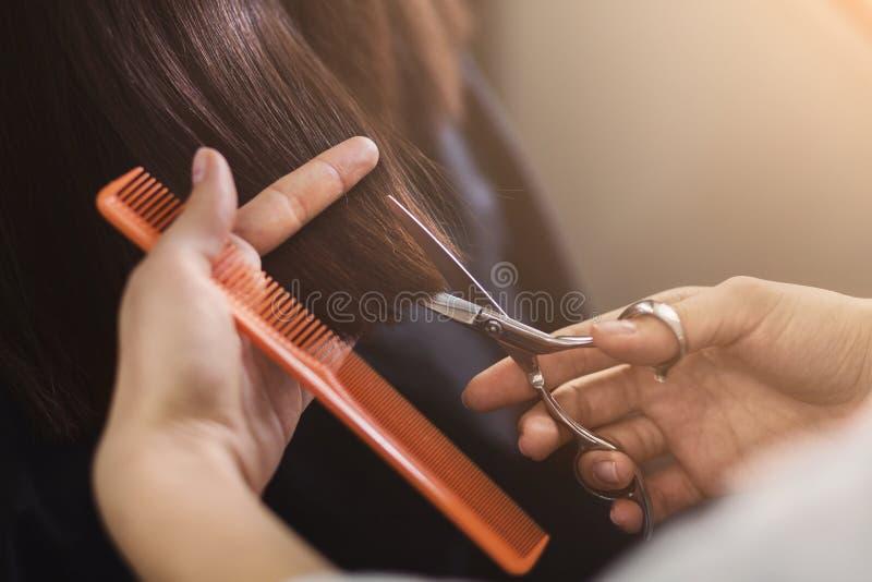 Geernteter Schuss des weiblichen Kunden einen Haarschnitt empfangend stockbilder
