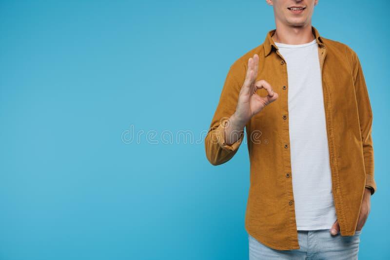 geerntetes Bild der okaygeste der Mannvertretung stockfoto