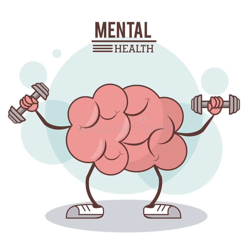 Geestelijk gezondheidsconcept hersenen het gezonde beeld van de opleidingsoefening royalty-vrije illustratie