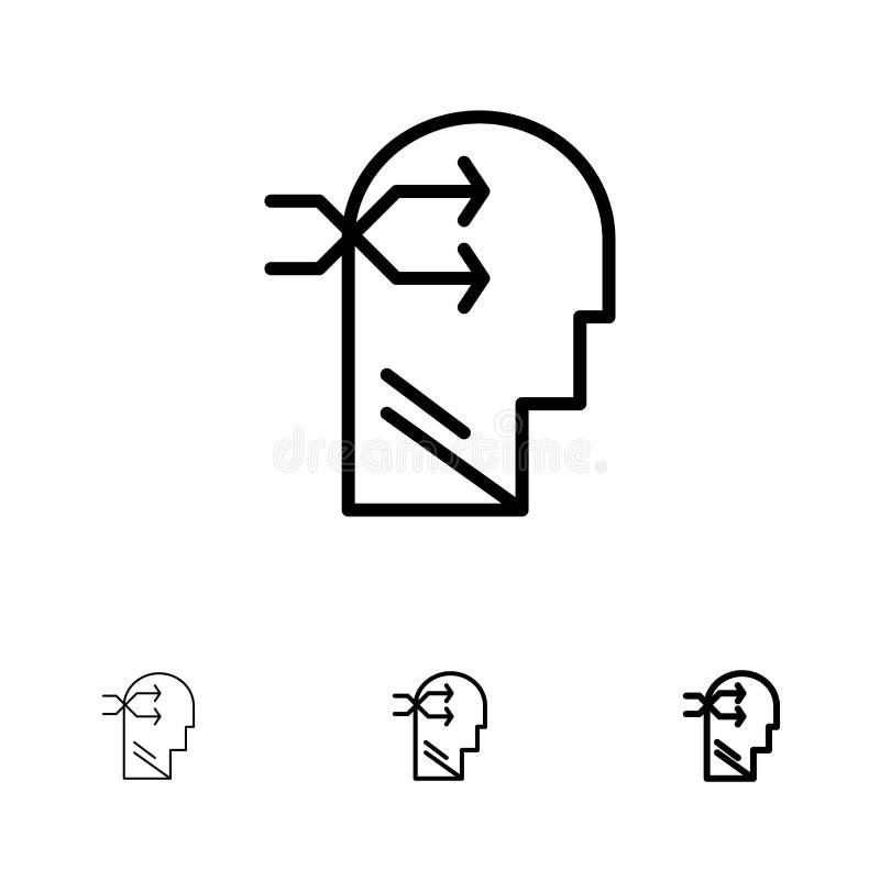 Geestelijk hang, leid, Brian, die de Gewaagde en dunne zwarte reeks van het lijnpictogram denkt stock illustratie