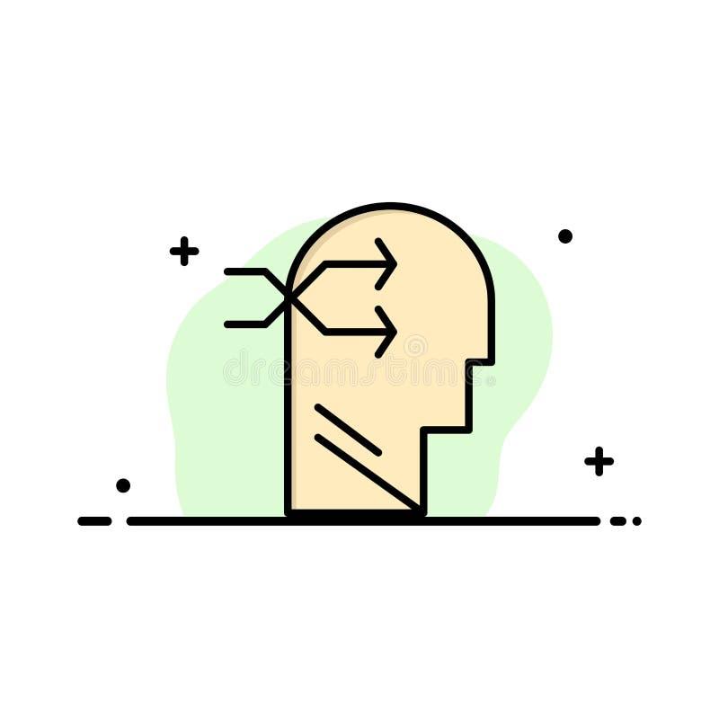 Geestelijk hang, leid, Brian, die Malplaatje van de Bedrijfs het Vlakke Lijn Gevulde Pictogram Vectorbanner denken vector illustratie