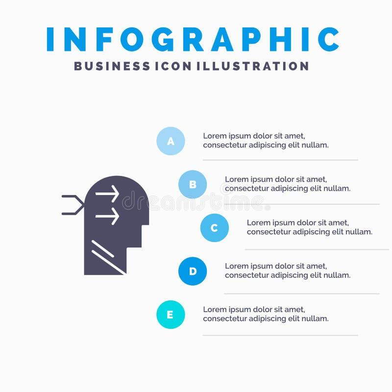 Geestelijk hang, leid, Brian, die Stevig Pictogram Infographics 5 denken de Achtergrond van de Stappenpresentatie vector illustratie