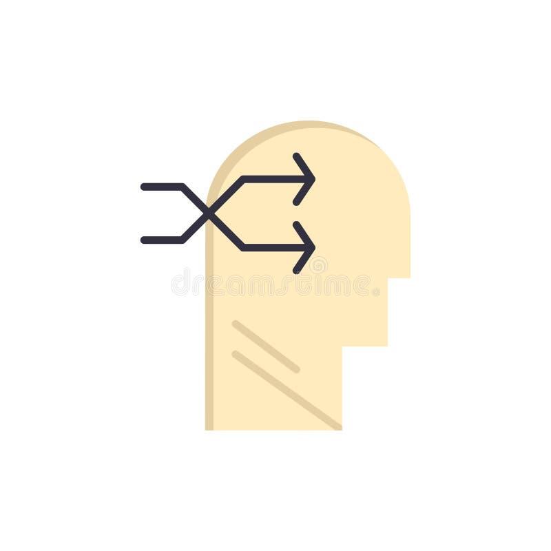 Geestelijk hang, leid, Brian, die Vlak Kleurenpictogram denken Het vectormalplaatje van de pictogrambanner vector illustratie