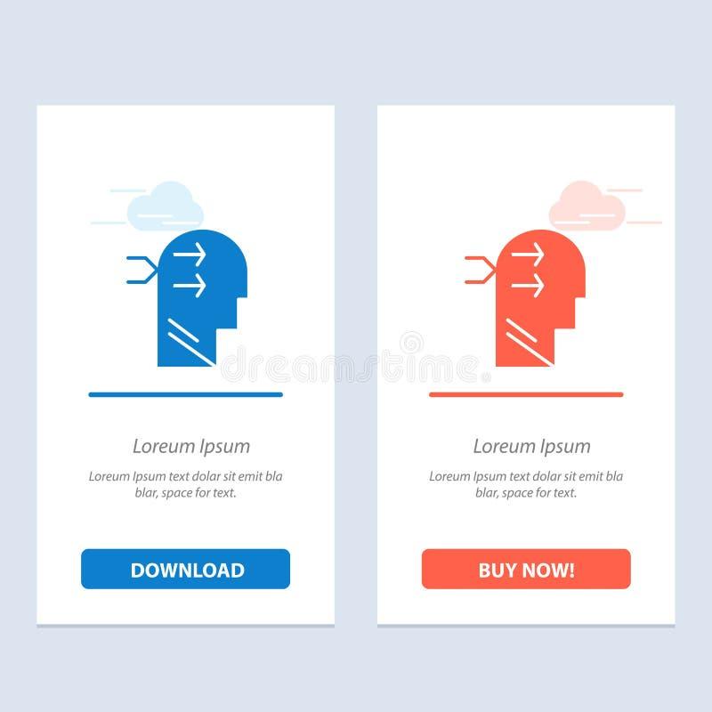 Geestelijk hang, leid, Brian, het Denken Blauwe en Rode Download en koop nu de Kaartmalplaatje van Webwidget stock illustratie