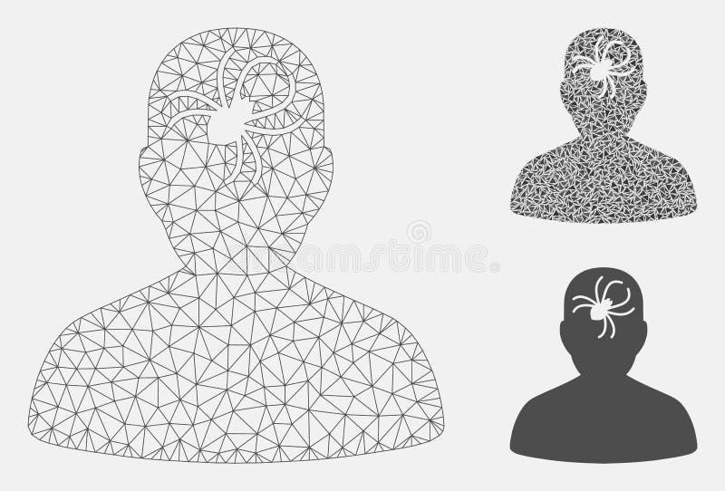 Geestelijk Insect Vector het Mozaïekpictogram van Mesh Network Model en van de Driehoek royalty-vrije illustratie