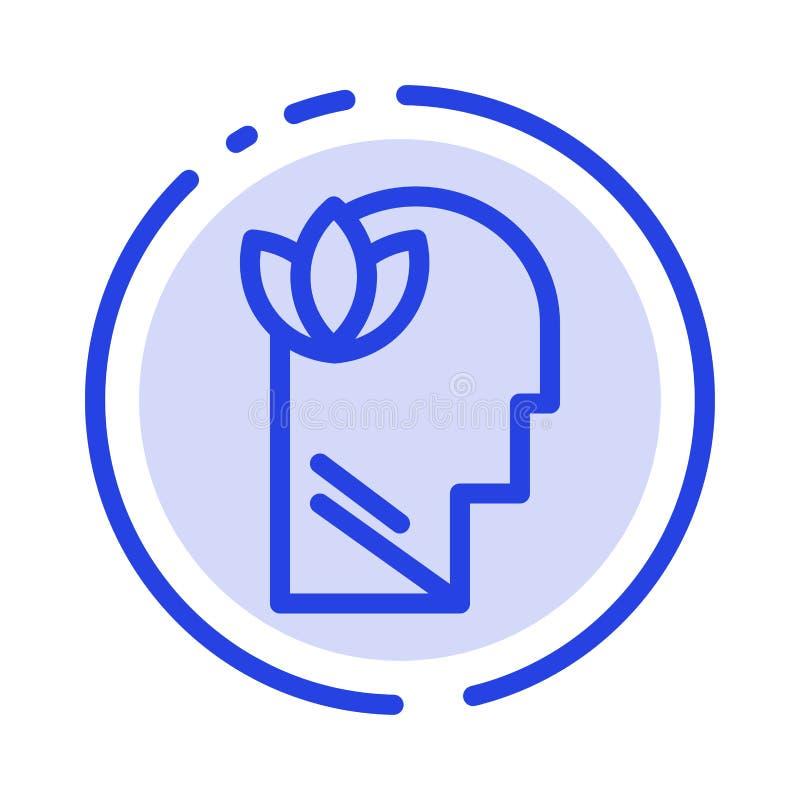 Geestelijk, Ontspanning, Mening, leid het Blauwe Pictogram van de Gestippelde Lijnlijn stock illustratie
