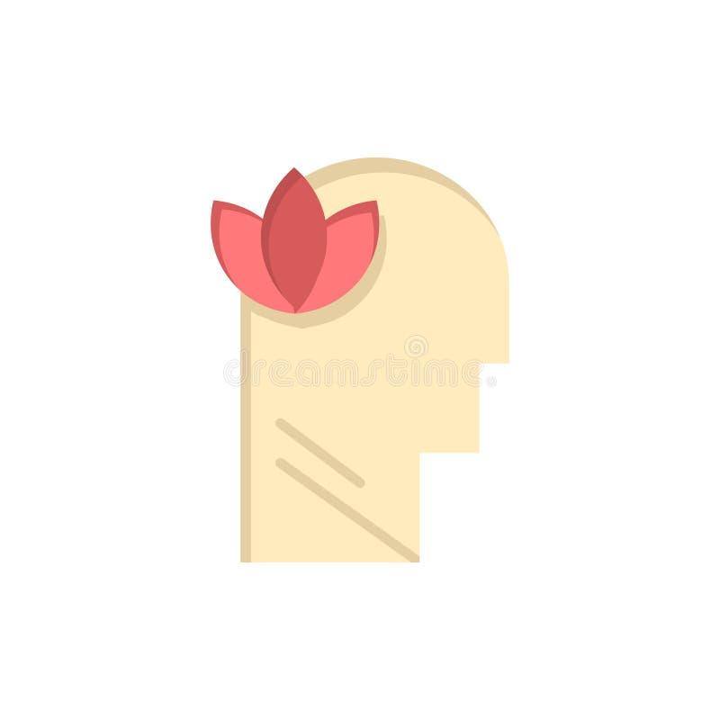 Geestelijk, Ontspanning, Mening, leid Vlak Kleurenpictogram Het vectormalplaatje van de pictogrambanner stock illustratie
