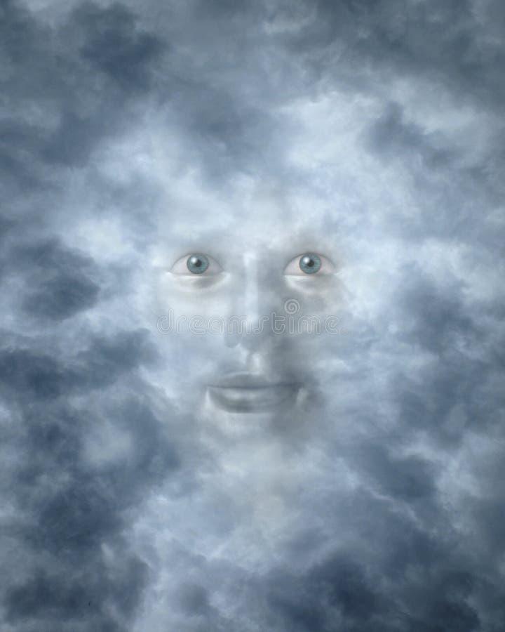 Geestelijke gezichten die door wolken turen royalty-vrije stock fotografie