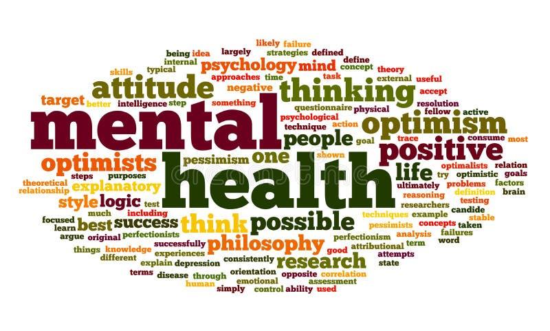 Geestelijke gezondheid in de wolk van de woordmarkering royalty-vrije illustratie