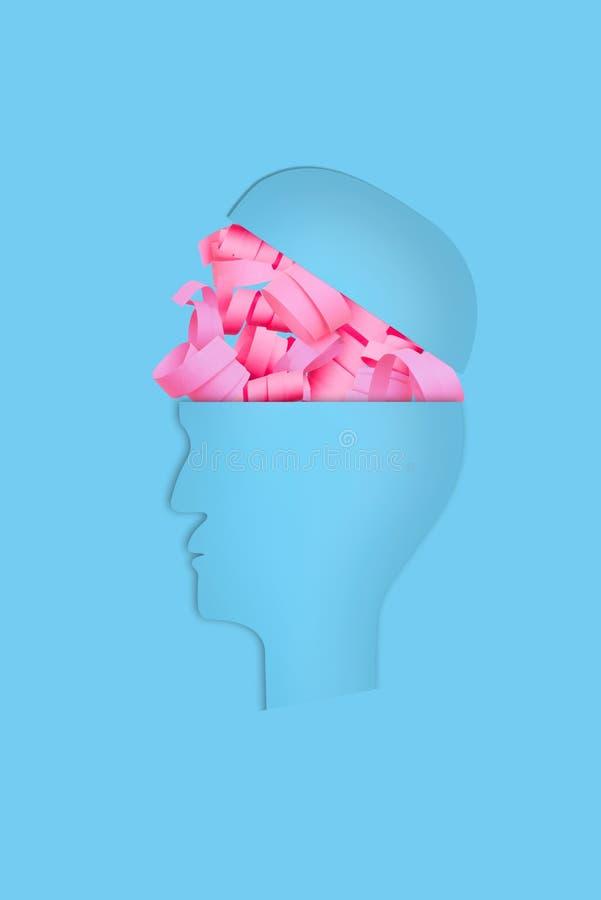 Geestelijke gezondheid en gevolgen van depressiemedicijn, het denken gelukkige gedachten vector illustratie