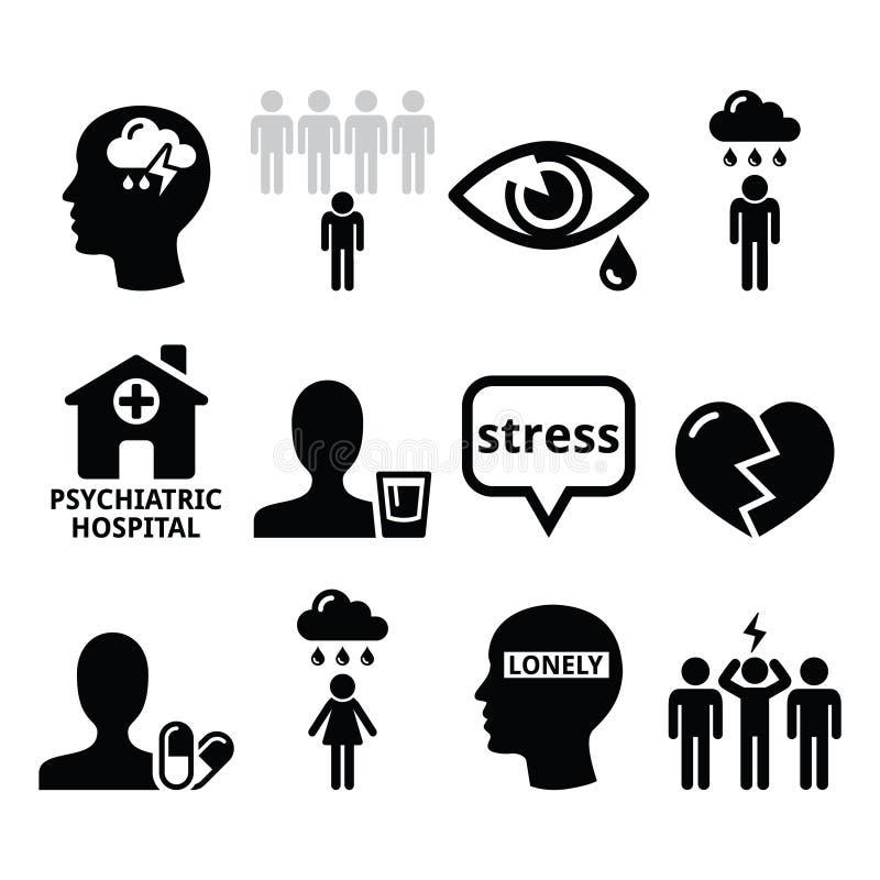 Geestelijke gezondheidspictogrammen - depressie, verslaving, eenzaamheidsconcept royalty-vrije illustratie