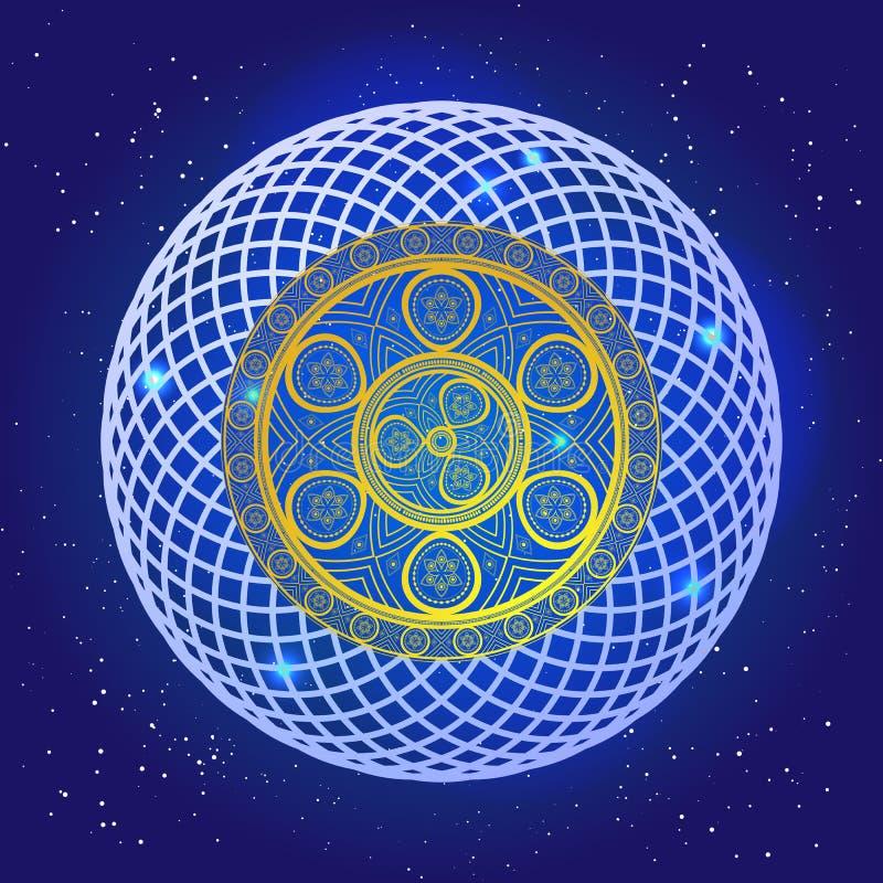 Geestelijke mysticus sacral mandala in de diepe blauwe ruimte met sterren royalty-vrije illustratie