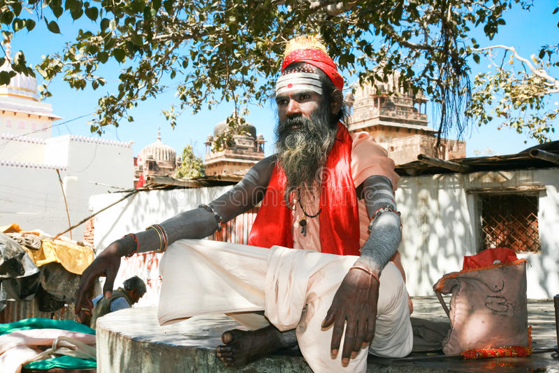 Geestelijke sadhu van Shaiva van de Goeroe, Orchha, India stock foto