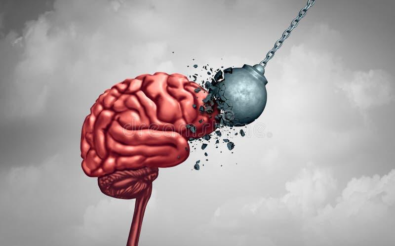 Geestelijke sterkte en meningshardheid als van de de neurologiepsychologie of psychiatrie van de hersenenmacht concept als geheug royalty-vrije illustratie