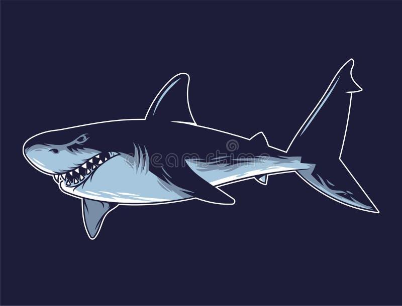 Gefährliche verärgerte Haifischdruckgraphik stock abbildung