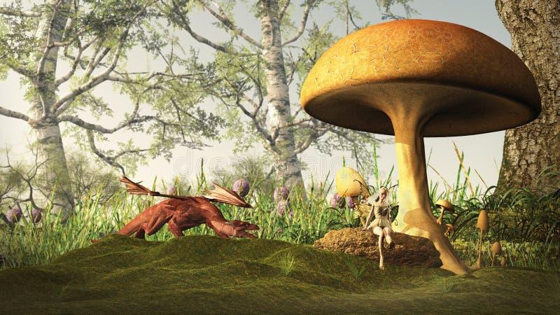 Gefährlicher Märchen-Wald mit Drachen und Fee stock abbildung