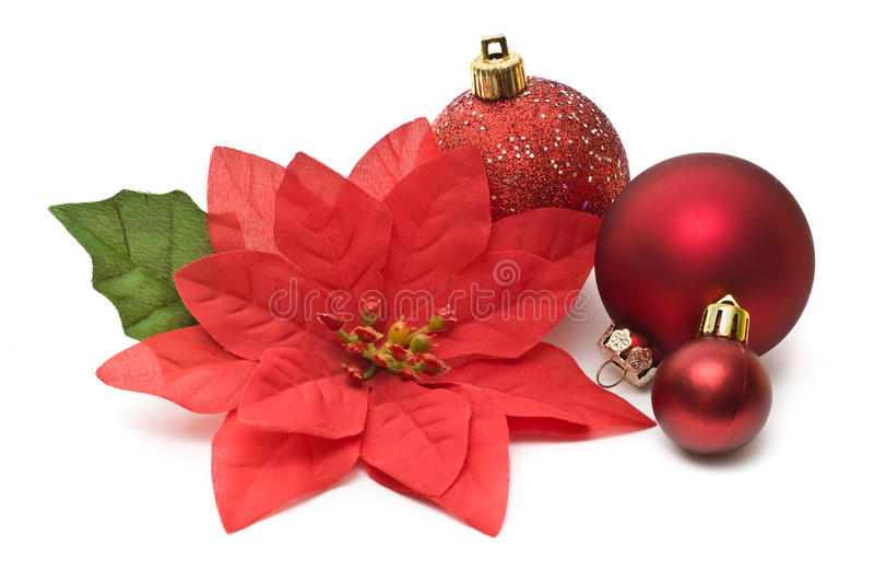 Gefälschte Poinsettia mit Weihnachten stockfoto