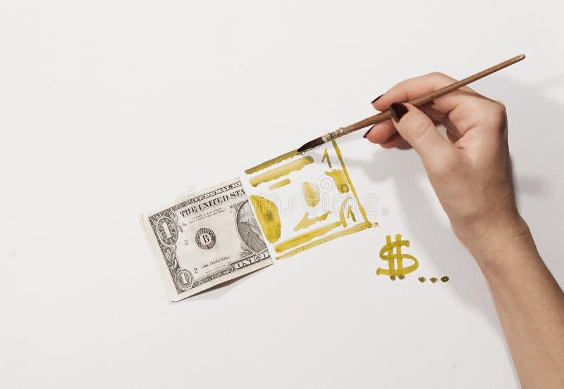 Gefälschter Dollar, Aquarell stockbild