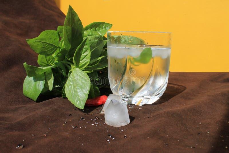 Gefälschtes Glas Wasser an heißem Sonntag saftige Basilika, Eis und gelbe Wand stockfotografie