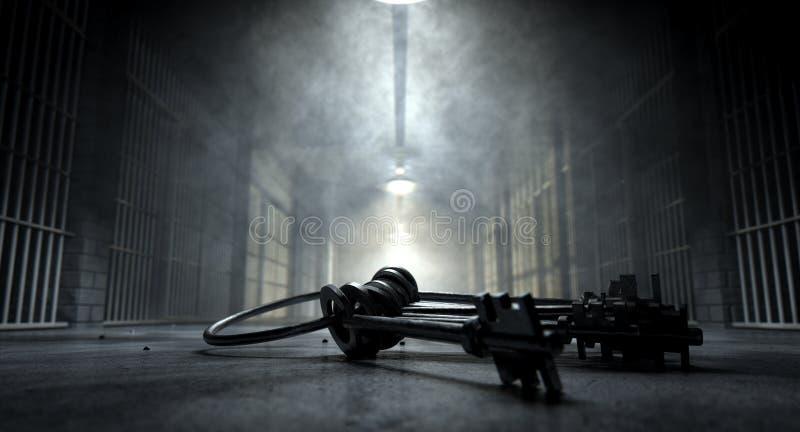 Gefängnis-Korridor und Schlüssel lizenzfreies stockfoto