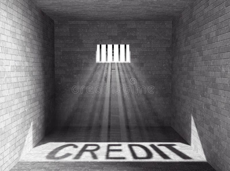 Gefängnis mit Licht und Kredit-Schatten Wiedergabe 3d lizenzfreie abbildung