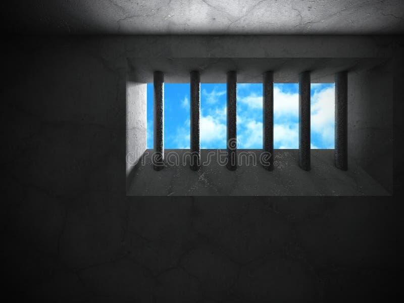 Gefängnisbetonmauer mit Gitterfenster zum bewölkten Himmel vektor abbildung