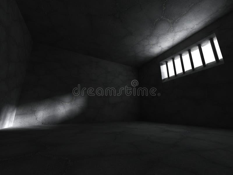 Gefängnisgefängniszellkonkreter Raum mit Gitterfenster stock abbildung