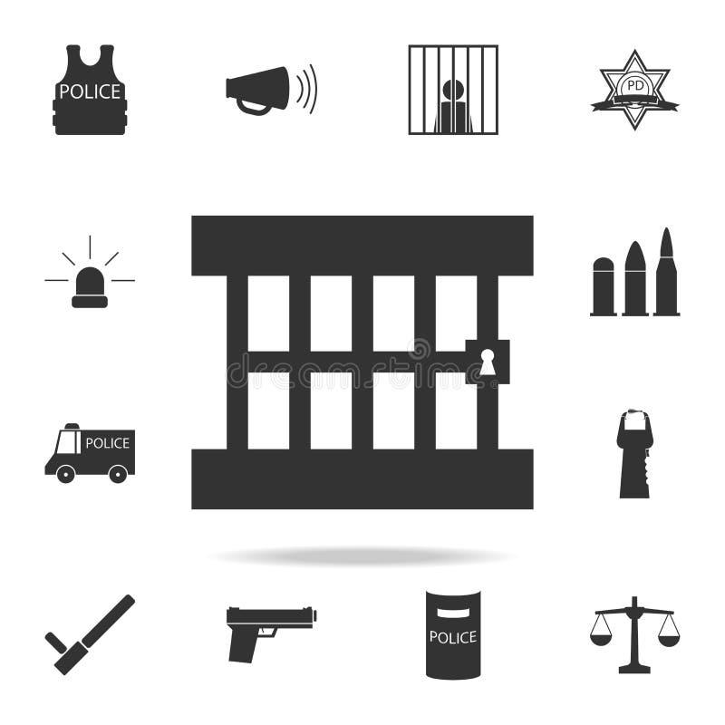 Gefängnisikone Ausführlicher Satz Polizeielementikonen Erstklassiges Qualitätsgrafikdesign Eine der Sammlungsikonen für Website,  stock abbildung