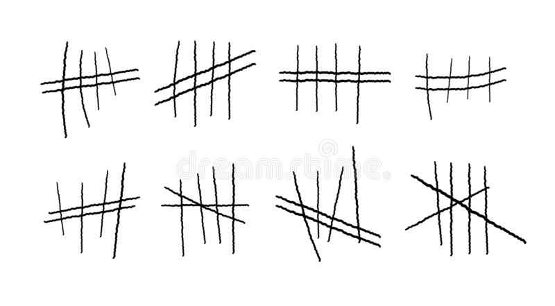 Gefängnissymbole, Gefängnistallykennzeichen Handgezogene Linien oder Stöcke, Anschläge sortierten durch vier und kreuzten heraus  stock abbildung