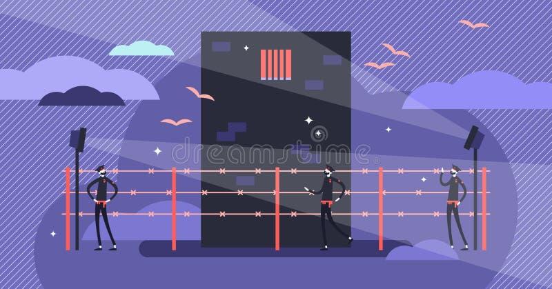 Gefängnisvektorillustration Flaches kleines Gefängnissicherheitsbeamte-Personenkonzept stock abbildung