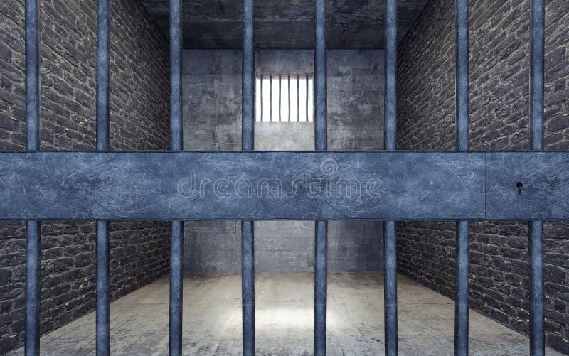 Gefängniszelle mit dem hellen Glänzen durch ein Gitterfenster vektor abbildung