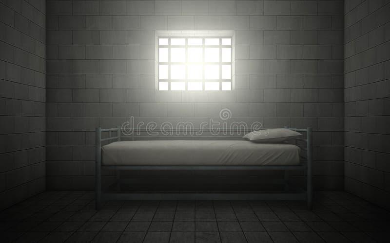 Gefängniszelle mit dem hellen Glänzen durch ein Gitterfenster lizenzfreie abbildung