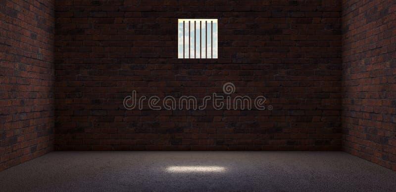 Gefängniszelle mit dem hellen Glänzen durch ein Gitterfenster 3D übertragen stock abbildung