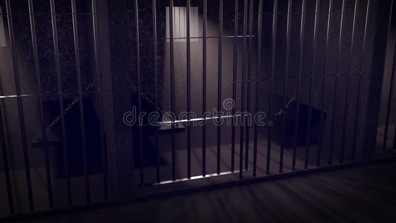 Gefängniszellinnenraum stock abbildung