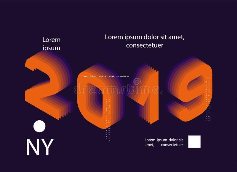 2019 gefärbt Fahne mit 2019 Zahlen Abbildung des vektorneuen Jahres lizenzfreie abbildung