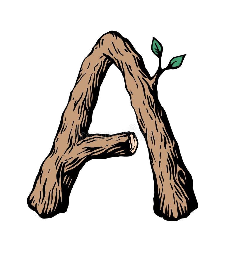 Gefärbt machte das Gravieren von Buchstaben A vom Holz mit Blättern auf dem weißen Hintergrund lizenzfreie abbildung