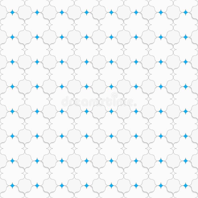 Gefärbt mit blauen spitzen Quadraten auf Weiß stock abbildung