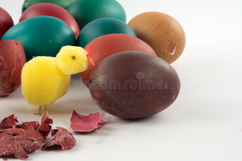 Gefärbte Ostereier stockbild
