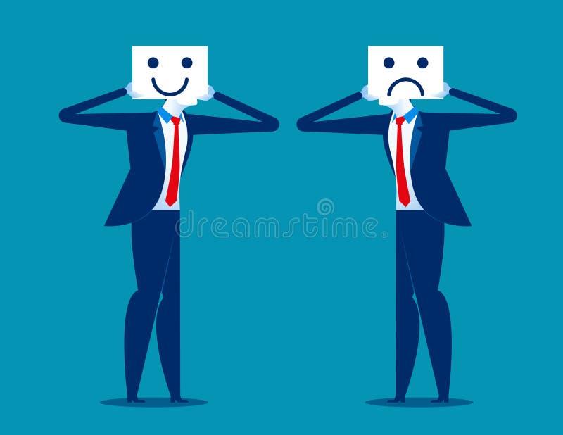 gefühl Geschäftsmannholdinglächeln und traurige Maske Konzeptgeschäft vektor abbildung