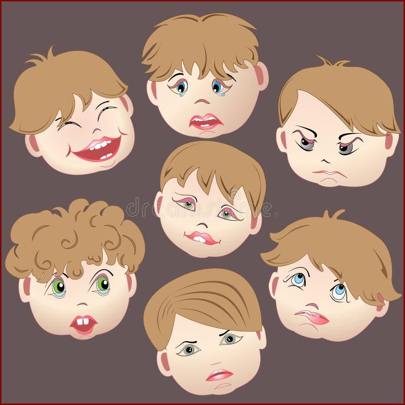 gefühle gesichter von kindern vektor abbildung