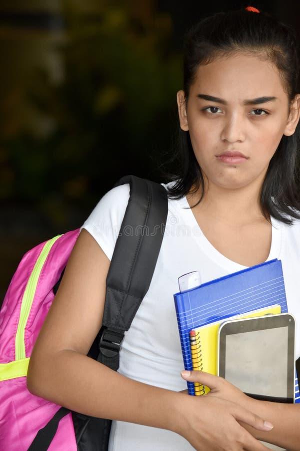 Gefühlloses nettes Minderheits-Schulmädchen stockfotografie