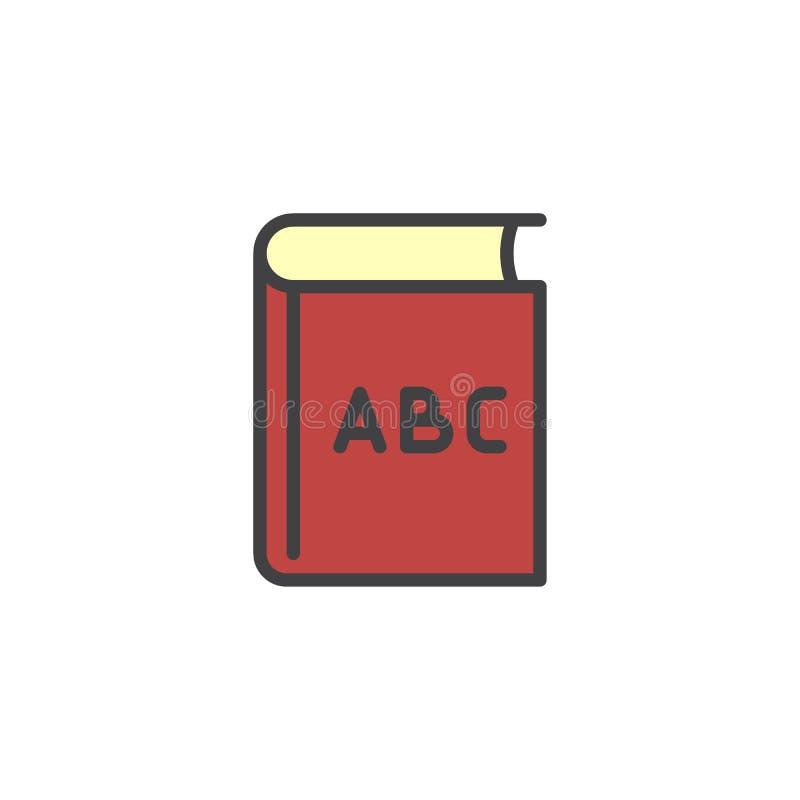 Gefüllte Entwurfsikone ABCs Buch lizenzfreie abbildung