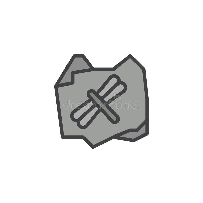 Gefüllte Entwurfsikone der Libelle Fossil vektor abbildung