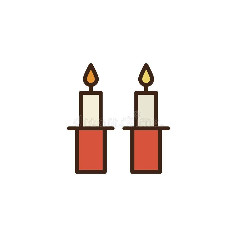 Gefüllte Entwurfsikone Shabbat Kerzen vektor abbildung