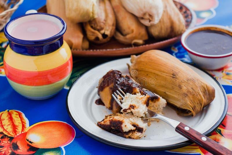 Gefüllte Maismehltaschen Mexiko, tamal mit Molesoße, mexikanische Nahrung, traditionelle Mahlzeit in Mexiko stockbilder